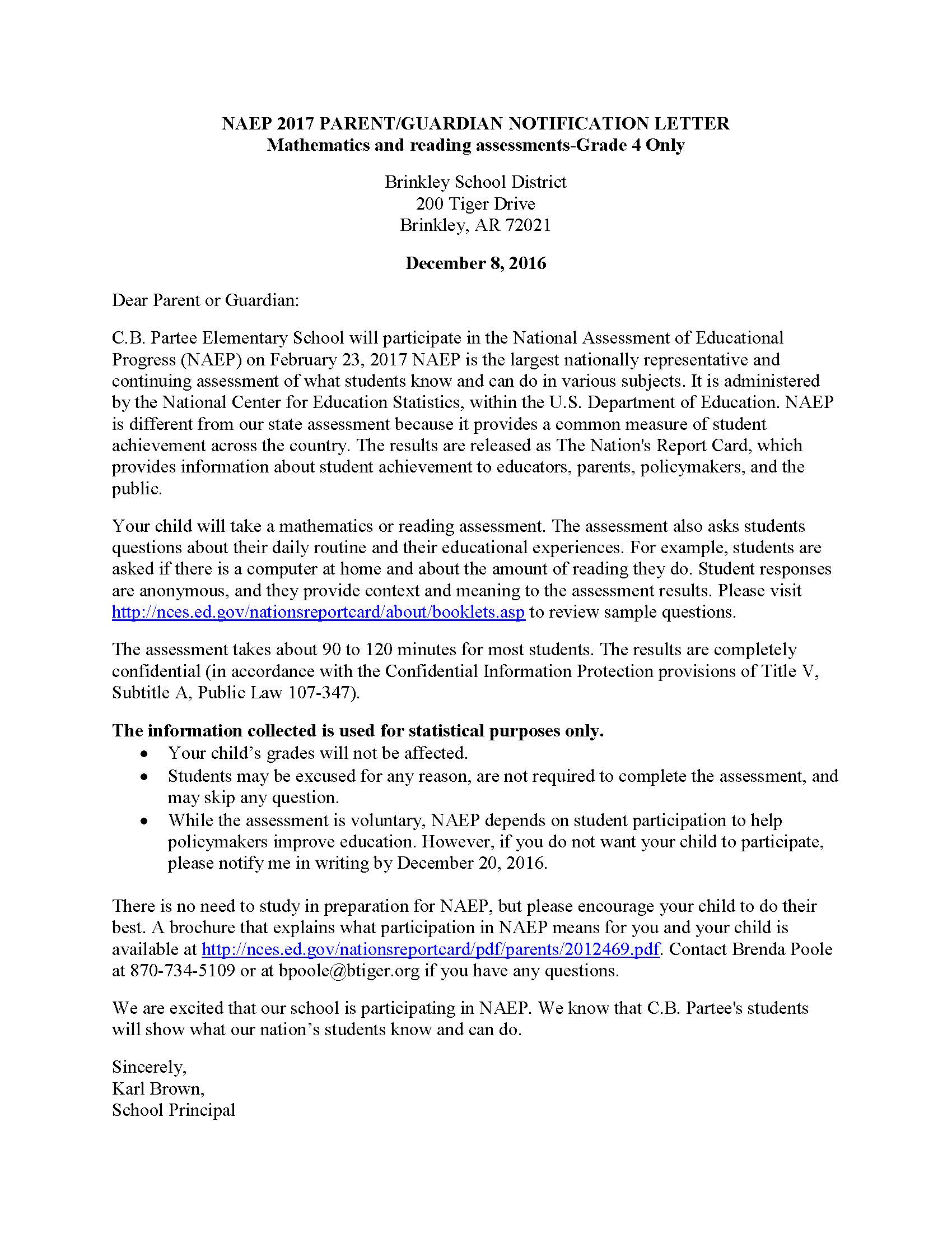 NAEP 2017 Math and Reading Parent Letter